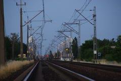 Trilhas Railway no crepúsculo Foto de Stock