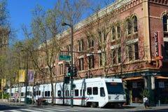 Trilho da luz de VTA em San Jose, Califórnia, EUA imagens de stock royalty free