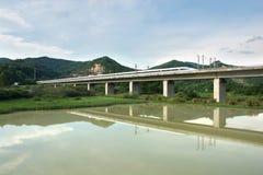 Trilho de alta velocidade do trem Fotografia de Stock Royalty Free