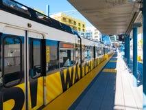 Trilho leve do metro em Santa Monica Platform do centro Fotografia de Stock