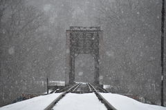 Trilho nevando Fotografia de Stock