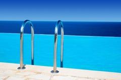 Trilhos à piscina azul perto do mar Imagem de Stock