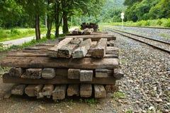 Trilhos da madeira Fotografia de Stock Royalty Free