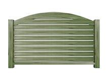 Trilhos de madeira da pinta com balaústres de madeira e o trilho superior curvado 3d r Imagem de Stock Royalty Free