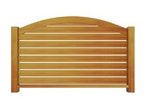 Trilhos de madeira do cedro com balaústres de madeira e o trilho superior curvado 3 Imagem de Stock Royalty Free