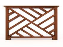 Trilhos de madeira do projeto com balusters de madeira Imagens de Stock Royalty Free
