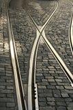 Trilhos do bonde em Lisboa Foto de Stock
