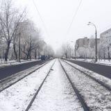 Trilhos do bonde no inverno Fotografia de Stock