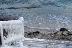 Trilhos do gelo no mar Báltico imagens de stock royalty free