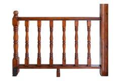 Trilhos do patamar com os balaústres de madeira isolados Imagens de Stock Royalty Free