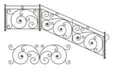 Trilhos e cercas modulares do ferro forjado do vetor ilustração royalty free