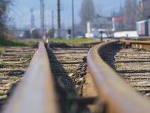 Trilhos no fim da estrada de ferro acima Imagem de Stock Royalty Free