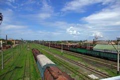 Trilhos railway velhos Foto de Stock Royalty Free