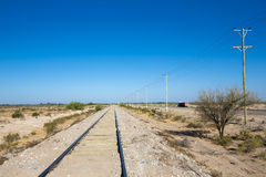 Trilhos retos do trem no norte de Argentina com céu azul Fotografia de Stock