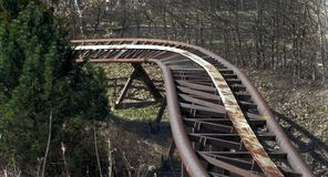 Trilhos velhos da montanha russa Foto de Stock Royalty Free