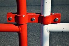 Trilhos vermelhos e brancos do detalhe Foto de Stock Royalty Free