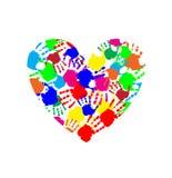 Trillend die hartpictogram van multicolored handdrukken wordt gemaakt stock illustratie