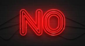 Trillend het knipperen rood neonteken op bakstenen muurachtergrond, geen negatiesymbool Stock Foto's