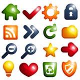 Trillende gekleurde pictogramreeks Stock Afbeeldingen