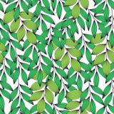 Trillende groene verse bladeren met aders naadloos patroon, vector stock illustratie