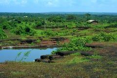 Trillende Indische dorpsscène Stock Foto