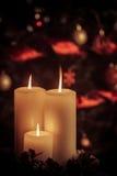Trillende kaarsen voor rode geklede Kerstboom stock foto
