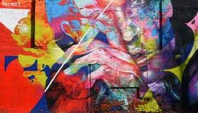 Trillende Muurschildering langs Gratiot-Weg in Detroit Stock Fotografie