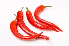 Trillende rode chillis Stock Afbeeldingen