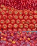 Trillende rode vruchten en groenten Royalty-vrije Stock Afbeeldingen
