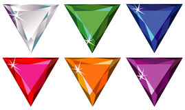 Trillion cut precious stones with sparkle. Illustration of trillion (triangle) cut precious stones with sparkle Royalty Free Stock Photos