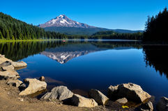 Trillium Jeziorny wczesny poranek z góra kapiszonem, Oregon, usa Zdjęcia Stock