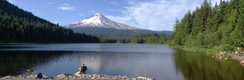 Trillium Lake and Mt. Hood panorama, Oregon. Stock Photography