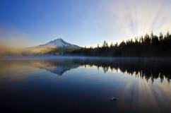 Trillium lake view at sunrise Stock Image