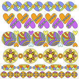 Trim or border collection with hearts and flowers Royalty Free Stock Image