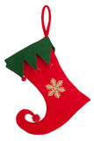 Trim a Christmas sock with a bent nose on a white  Stock Photo