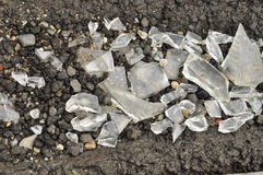 Trim pieces of broken glass on asphalt Stock Images