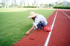 Trim the stadium lawn Stock Photography