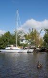 Trimarã nos marismas, Florida, EUA Foto de Stock Royalty Free