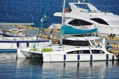 Trimaran motor yacht Stock Photo