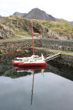 Trimaran reflecting in Nyksund harbour Royalty Free Stock Photos