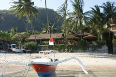 Trimarano di pesca in Bali, Indonesia fotografia stock libera da diritti
