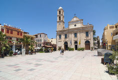 Trimartiri cathedral and square Chania Stock Photo