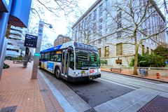 TriMet bus station in front of United States Court House buildin. Portland, Oregon, United States - Dec 19, 2017: TriMet bus station in front of United States stock photography