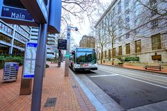 TriMet bus station in front of United States Court House buildin. Portland, Oregon, United States - Dec 19, 2017: TriMet bus station in front of United States Royalty Free Stock Image