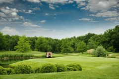 Trimmed field for golfing on golf course Royalty Free Stock Images