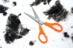 Trimmed hair. On the floor with scissors.fashion concept Stock Photos