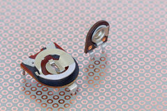 Trimmers on a copper breadboard Royalty Free Stock Photos