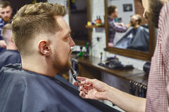 Trimming beard in the Barber shop Stock Photos