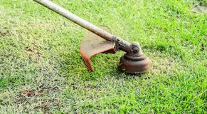 Motor of the trimmer rotating fast and cutting the grass off. Trimming the grass. Motor of the trimmer rotating fast and cutting the grass off. Focus on the Royalty Free Stock Image