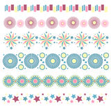 Trims with stars, circles and abstract flowers Stock Images